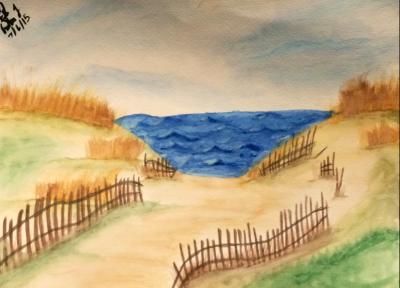 Seaside - Island Beach State Park - Watercolor by emi1296