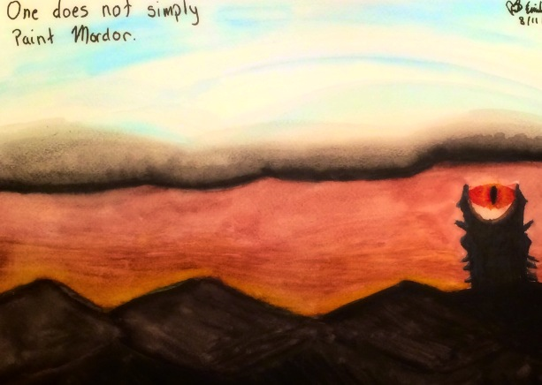 One Does Not Simply Paint Mordor - Watercolor by emi1296