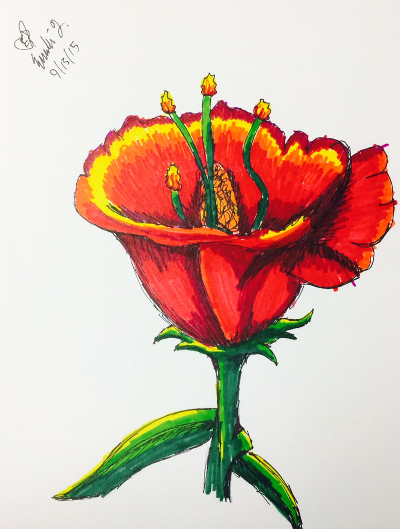 Another Sharpie Flower - I love this one tbh by emi1296