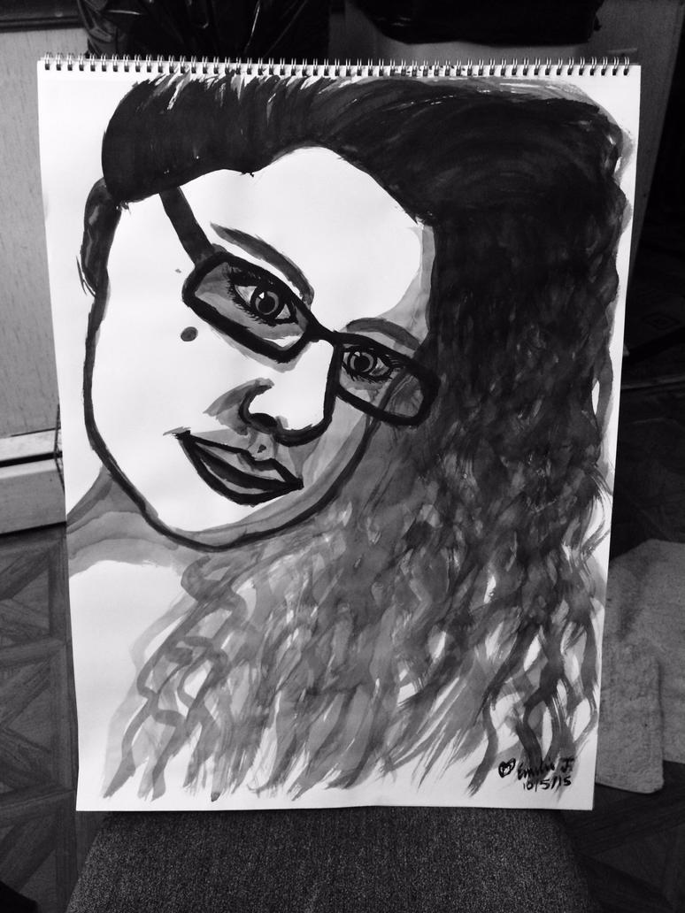 Self-Portrait in Ink by emi1296