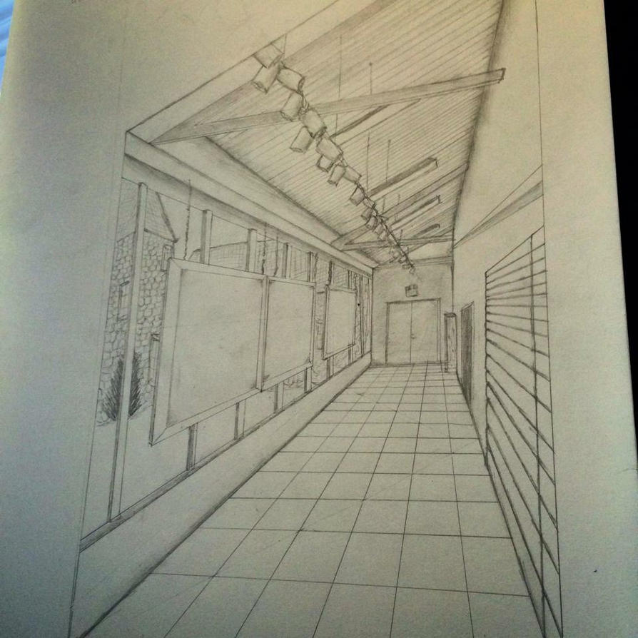 Perspective Hallway - Pencil by emi1296