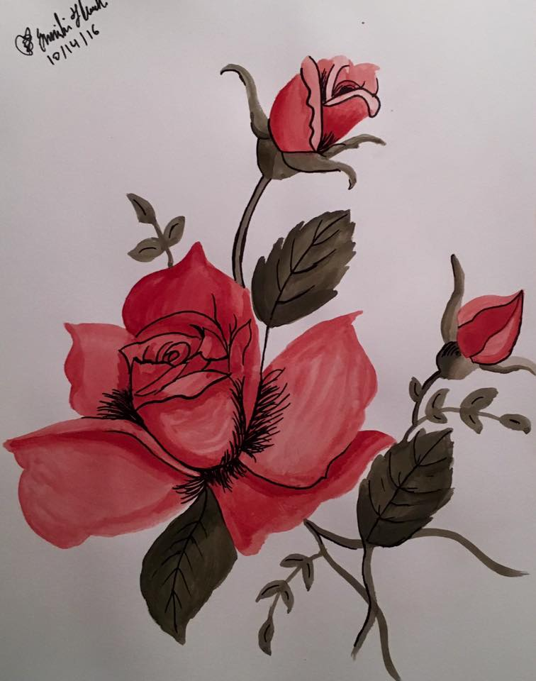 Watercolor and Ink Roses by emi1296