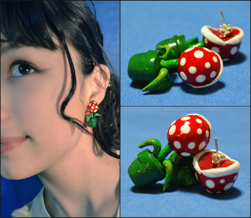 Piranha Plant earrings by AngelaBermudez