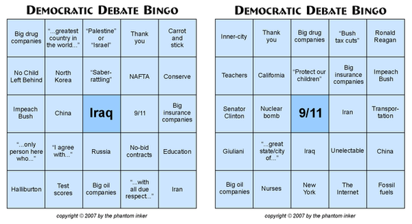 Democratic Debate Bingo by phantom-inker