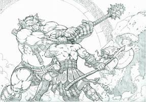 Demon Slayer vs. Warhog by MannixFrancisco