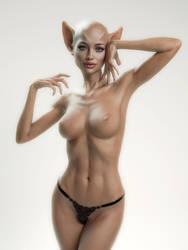 Cat-Woman splashing into milky light by Livius70