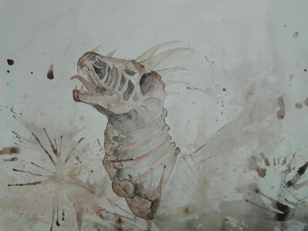 sceleton dragon by darchii
