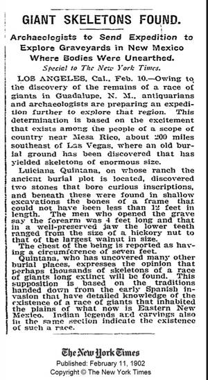 New York Times 1902 Article  Ovr 12 ft Giant Found