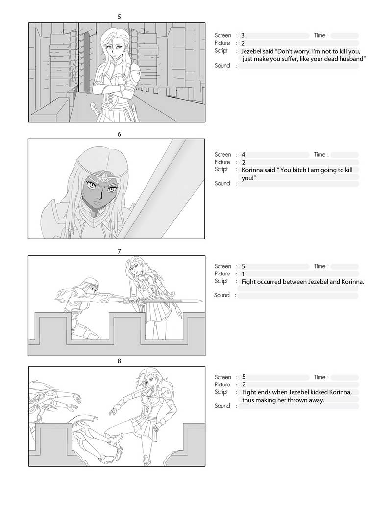 Fight Scene Storyboard Page #2 for Animation by TheGrigoriAnime