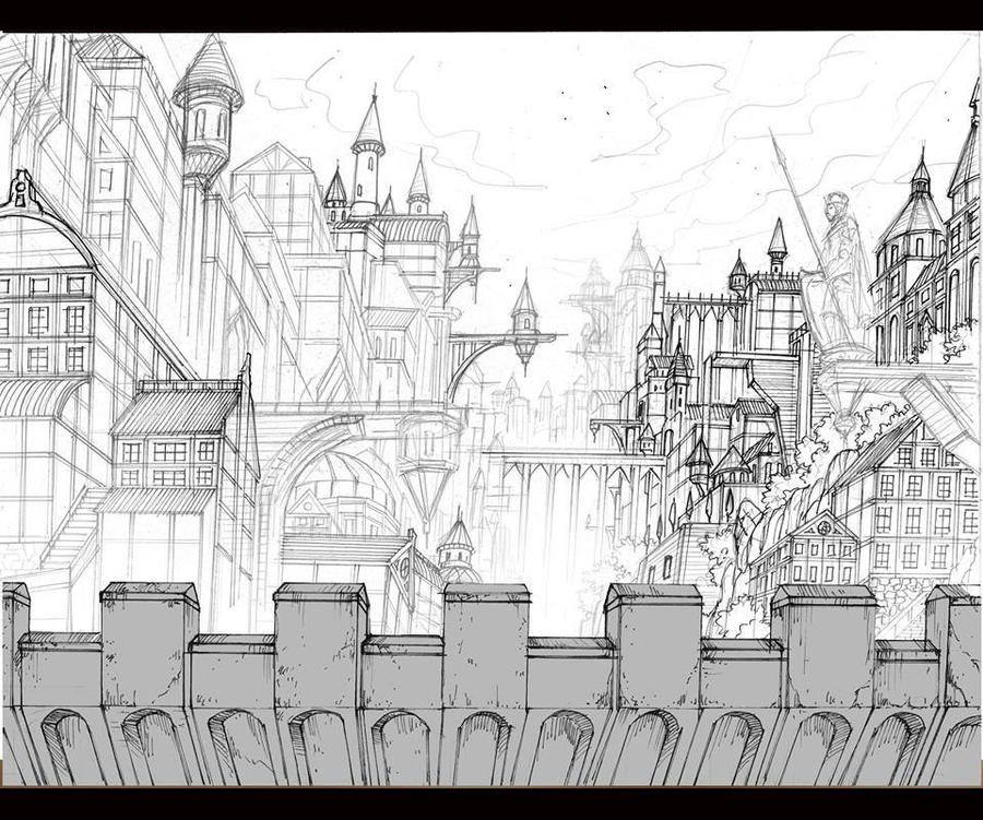 City Scene 1 Background for Animation by TheGrigoriAnime