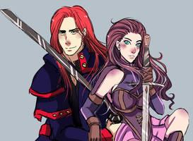 Sketch Red Head Duo Jezebel and Herzon by TheGrigoriAnime