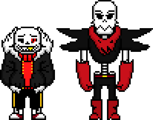 Updated Underfell Sans and Papyrus sprites by flambeworm370