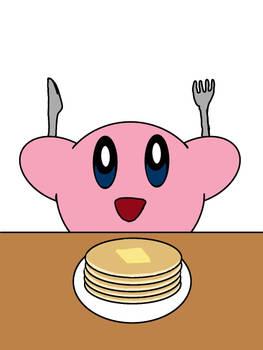 Kirby eats Pancakes