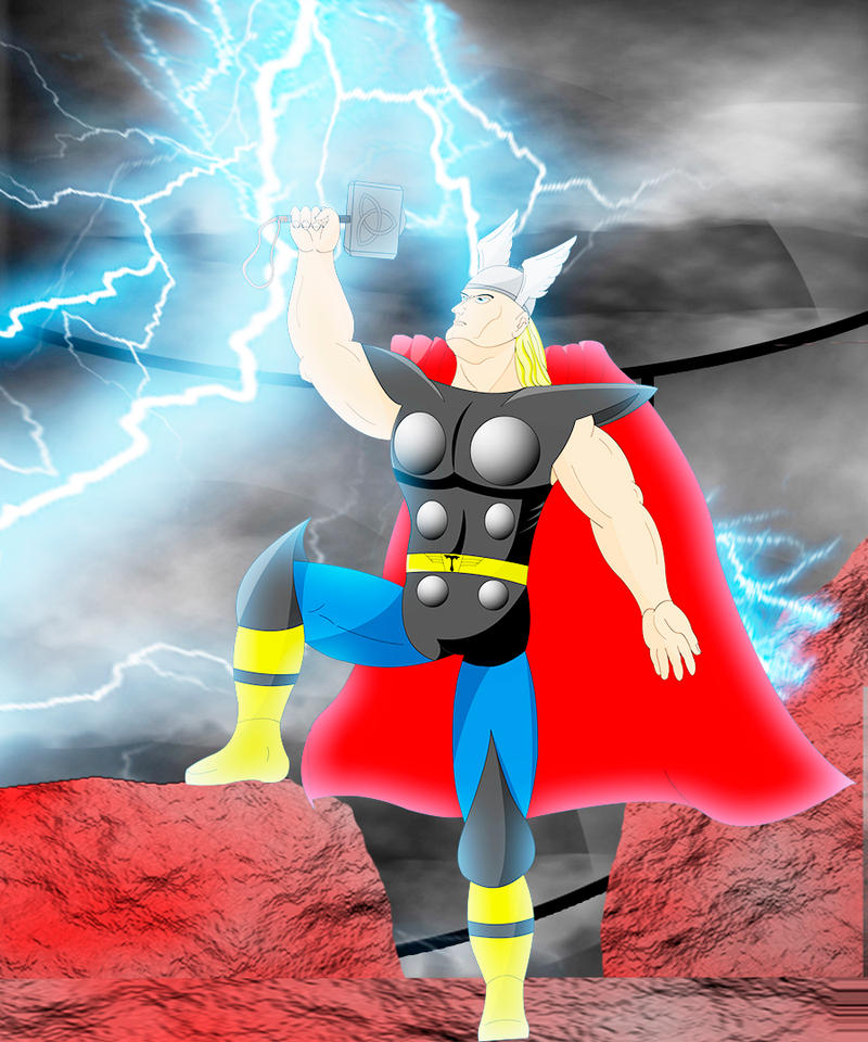 Thor, The God of Thunder and Lightning V2- Fan Art by MaxPowerX5