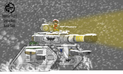 Leman Russ Battle Tank marching in a blizzard dawn by johnlincoln2