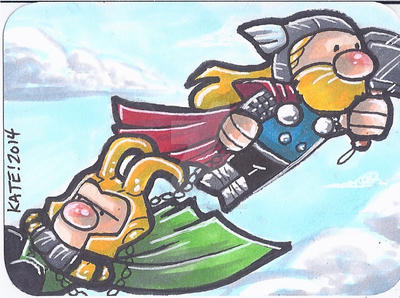 Thor and Loki SketchCard Doodlez Style by keelhaulkate