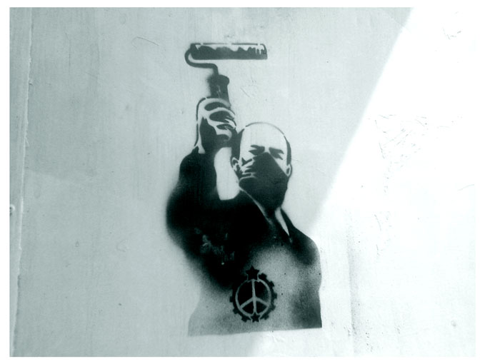 lenin roll wall stencil by racuntikus
