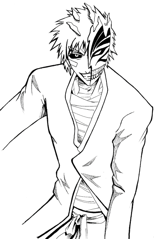 Hollow ichigo in ink by daze into verity on deviantart for Bleach color pages