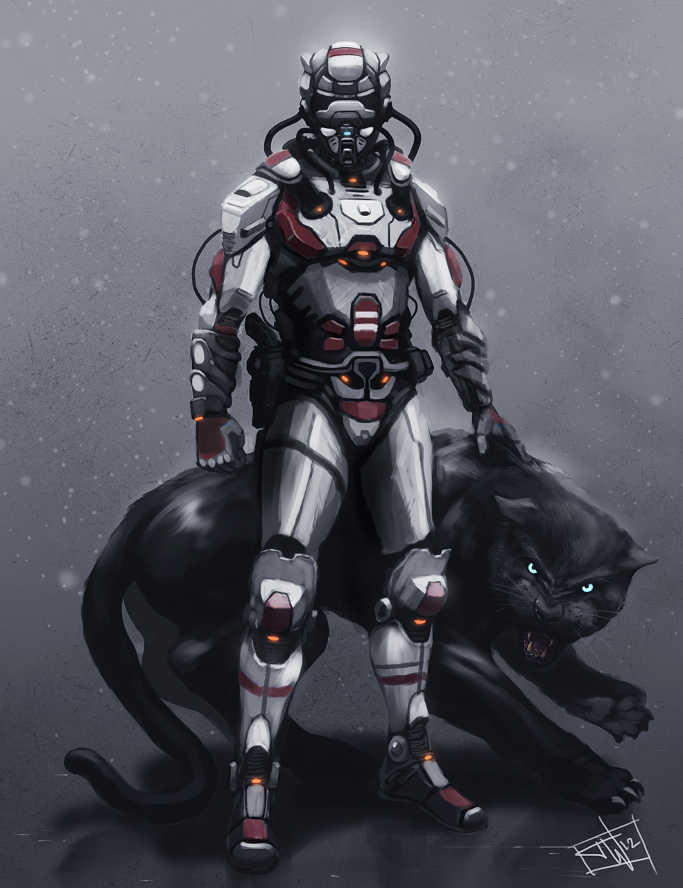 Claxton CHOW: sci-fi hunter with pet by thomaswievegg