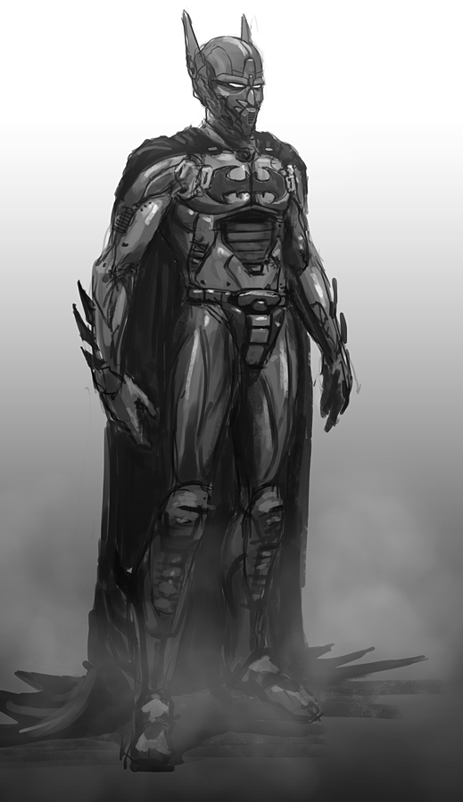 sci fi Batman (beyond) Robot scribble by thomaswievegg