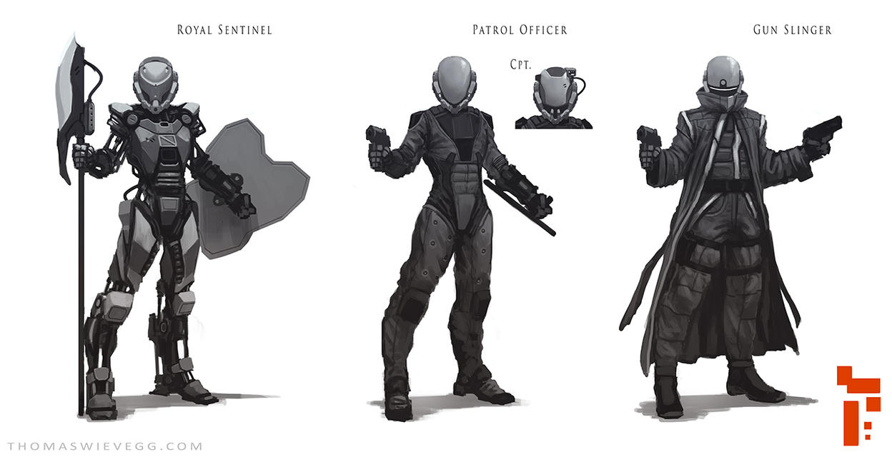 Sci-fi Character Concepts by thomaswievegg