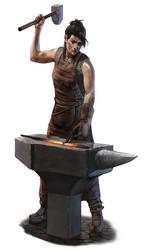 Female Blacksmith by thomaswievegg