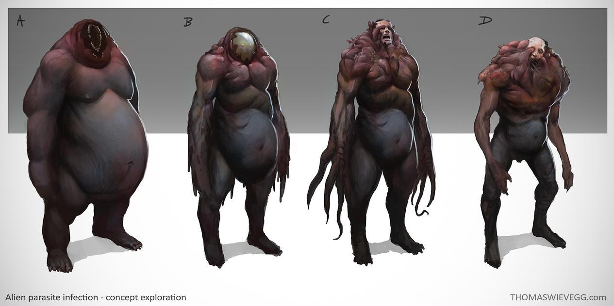 Alien parasite infection - concept exploration by thomaswievegg