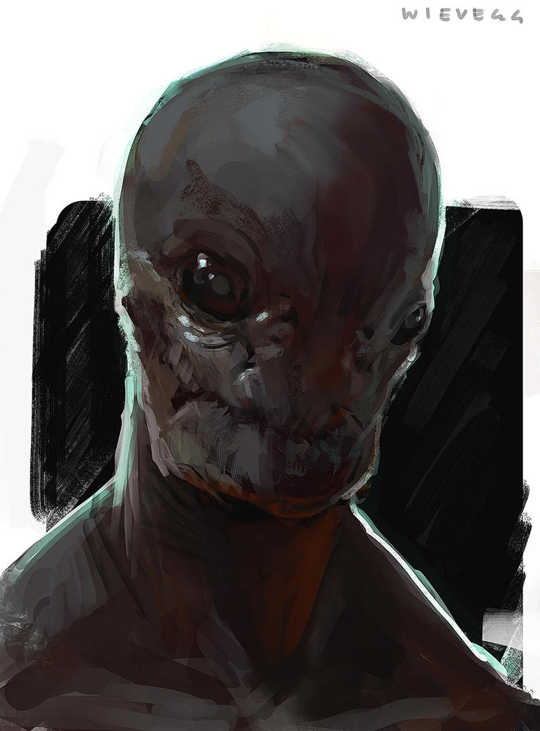 Alien portrait sketch 02 by thomaswievegg