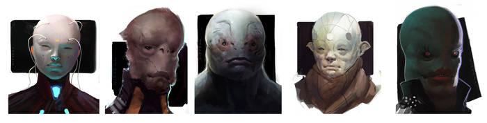 misc. scifi head doodle-farts by thomaswievegg
