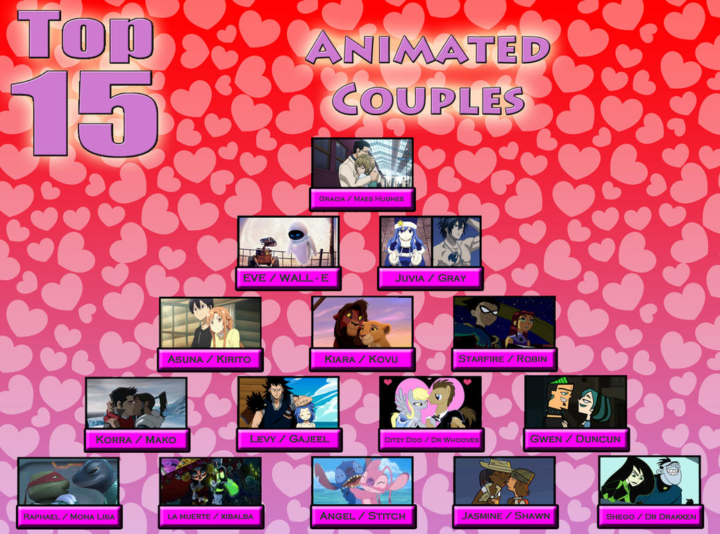 Top 15 Animated Couples by Moheart7