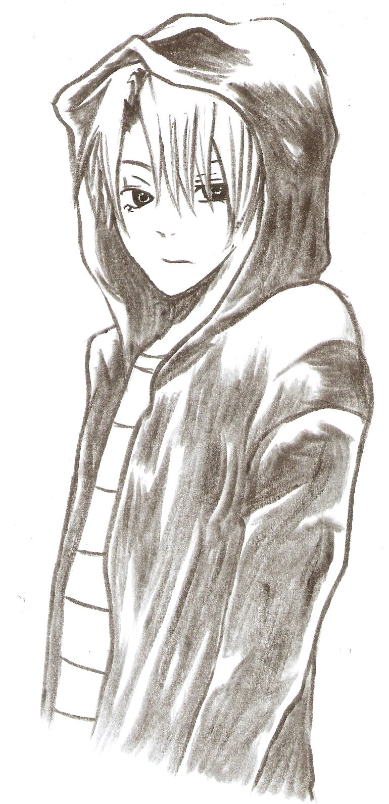 It is a photo of Exhilarating Guy In Hoodie Drawing