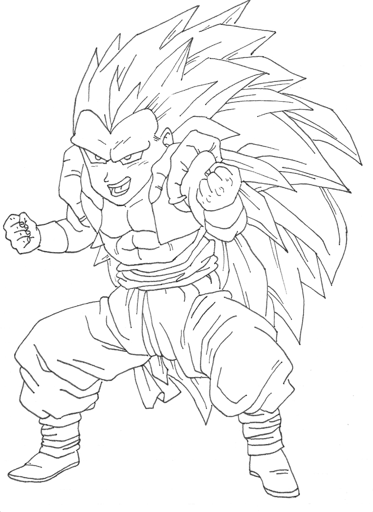 Gotenks ssj3 by osoroshiiyasai on deviantart for Dbz coloring pages online