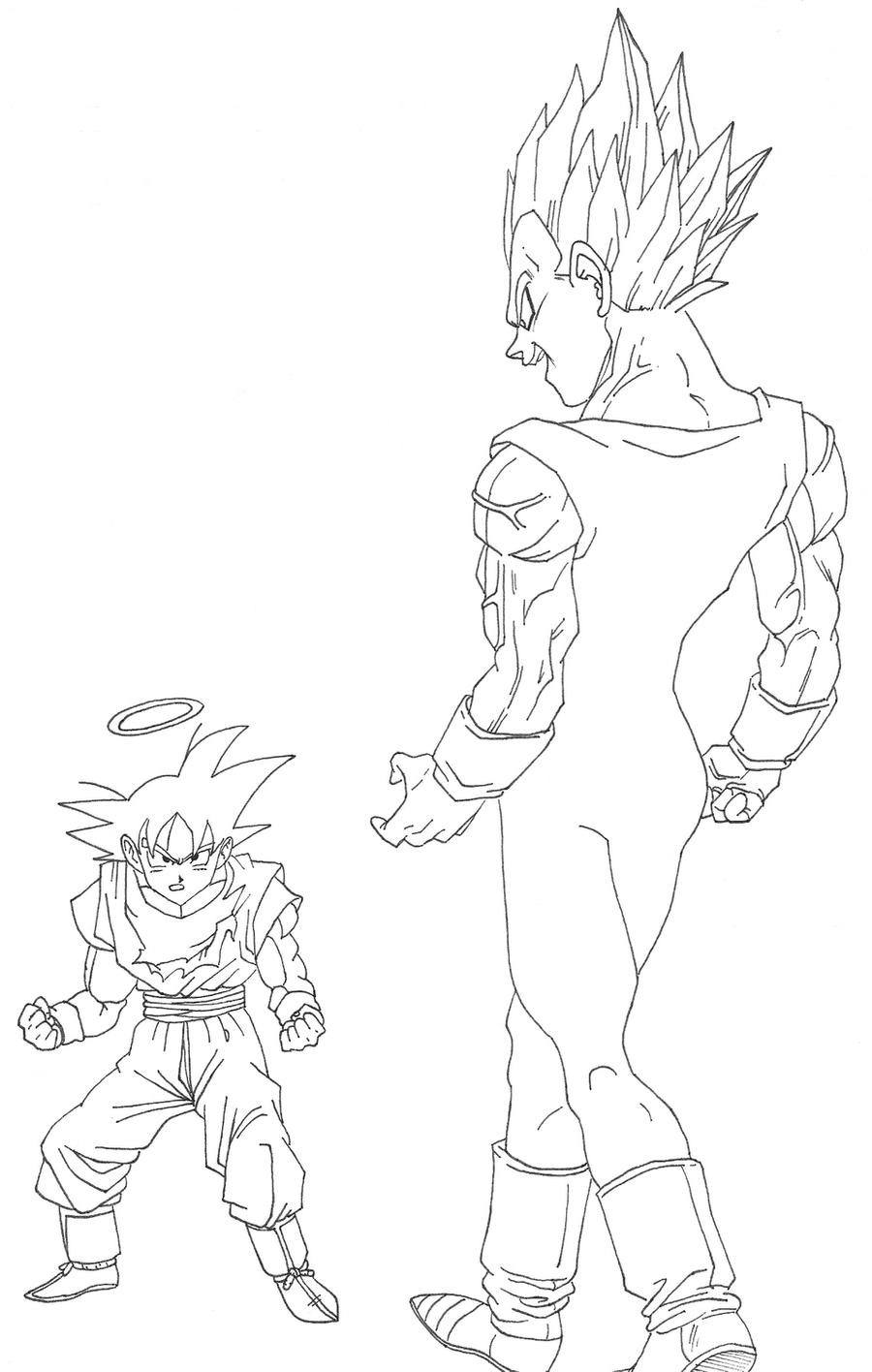 Majin vegeta vs goku by osoroshiiyasai on deviantart for Vegeta coloring page