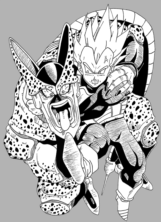 Vegeta vs Imperfect Cell by OsoroshiiYasai