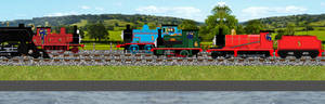 Thomas, Percy and James meet Albert and the PE