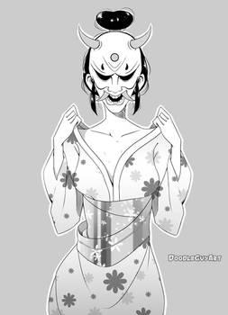 [+Video]  Girl, Yukata and Oni Mask