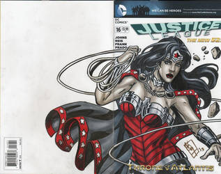 Wonder Woman Greytone on JL Blank cover by valiantonov