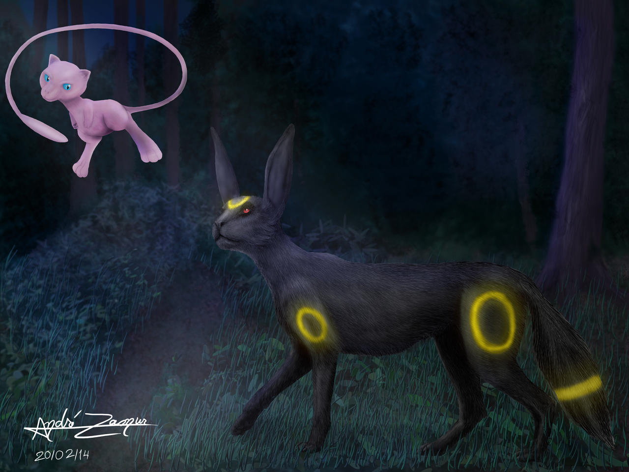 Mew And Umbreon Mew and Umbreon at nig...