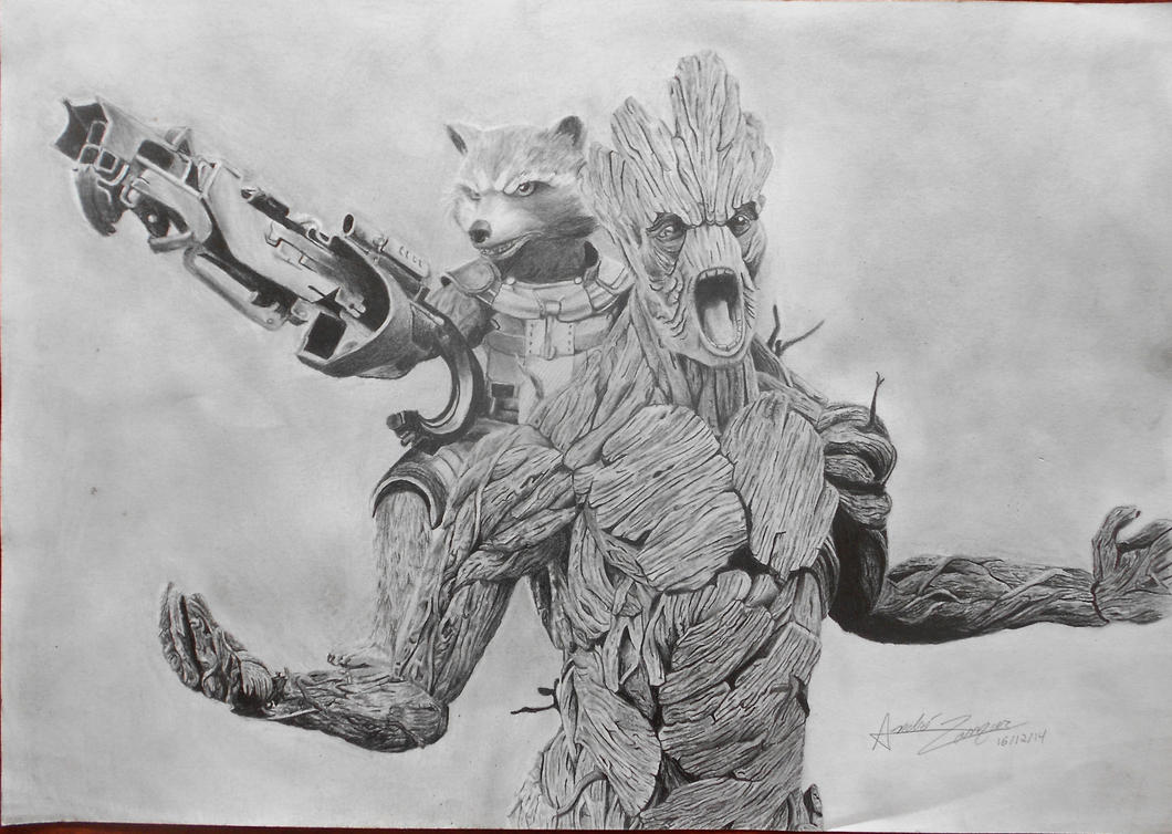 Star Lord And Rocket Raccoon By Timothygreenii On Deviantart: Rocket Raccoon And Groot By Andrezamur23 On DeviantArt