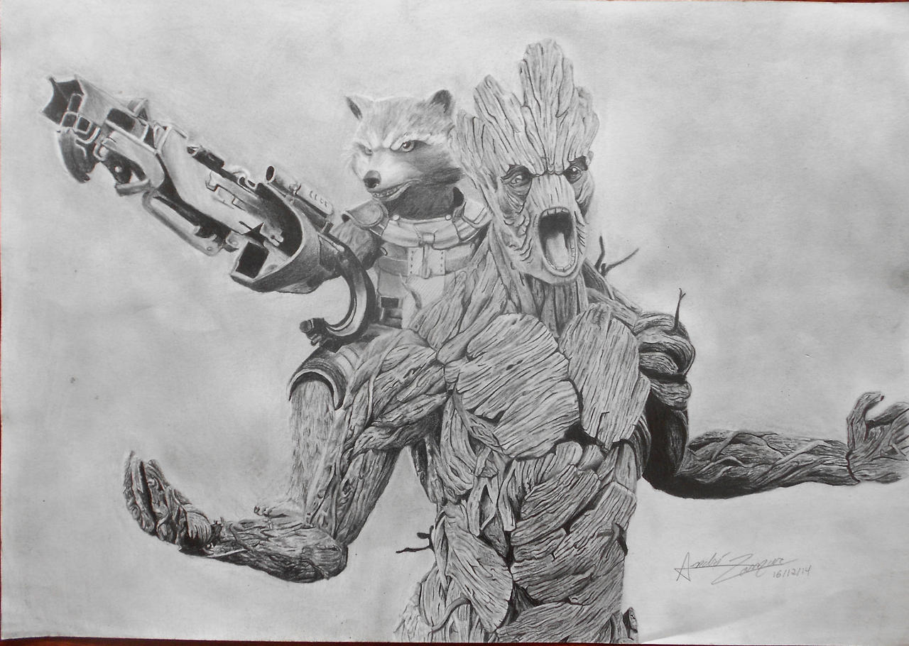 Rocket raccoon and groot drawing