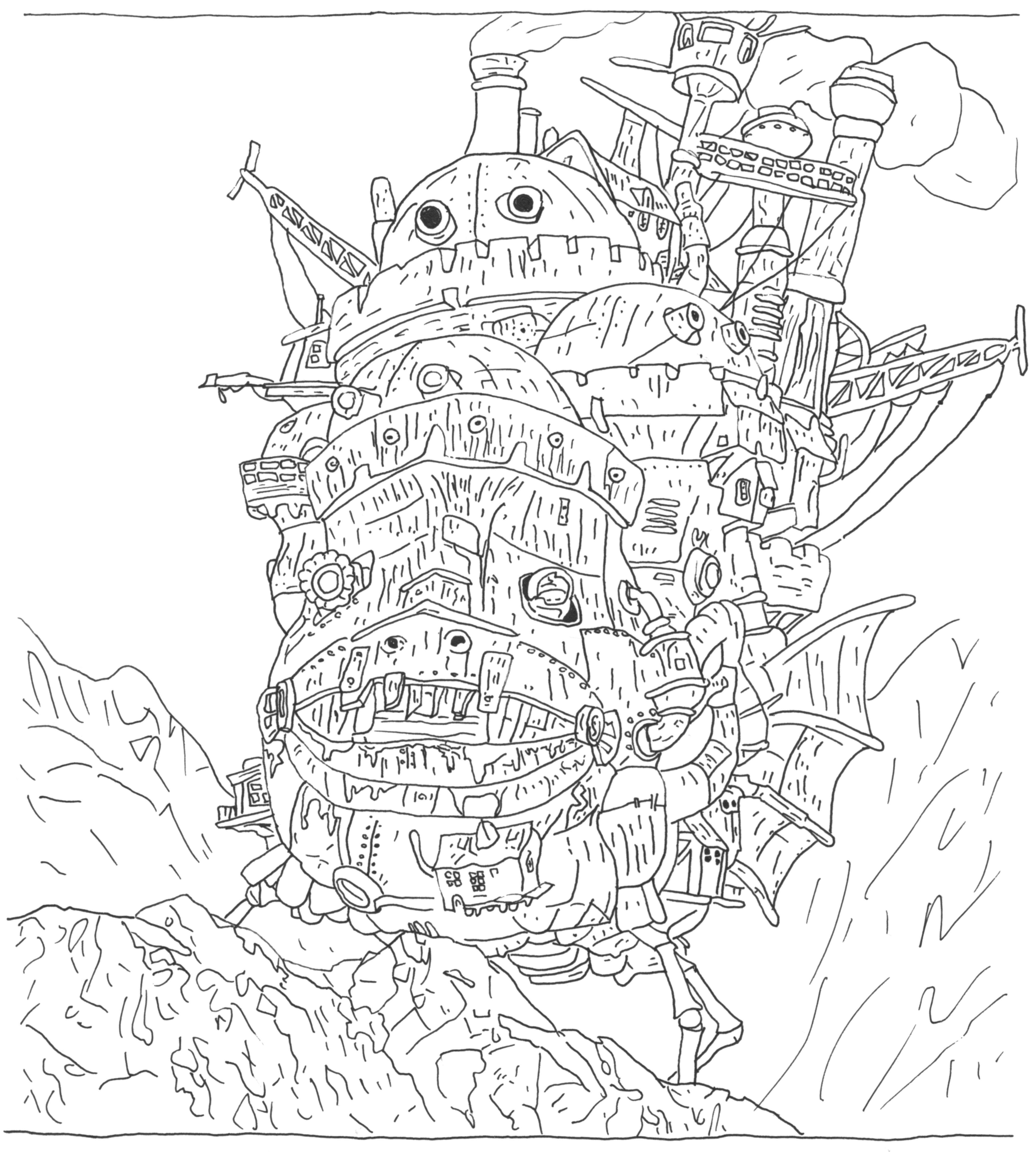 Anime Castle Coloring Pages