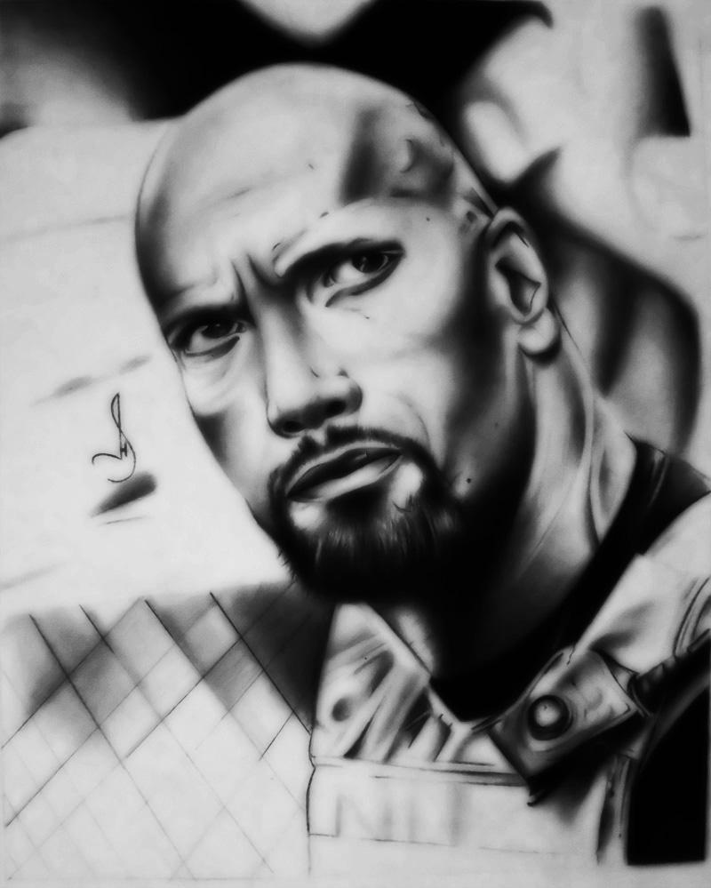 Drawing Dwayne Johnson by jhonatan23