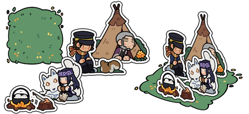 acrylic stand: golden kamuy by pyrogoth