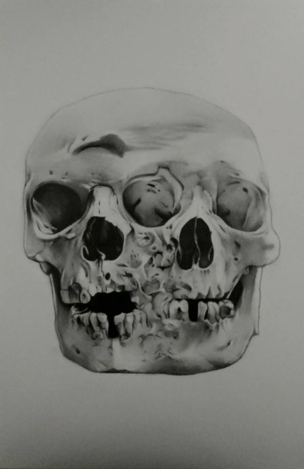 Deformed human skull by Achristie