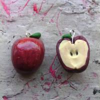 Apple Polymer Clay Charm by bloodyrosemaggot