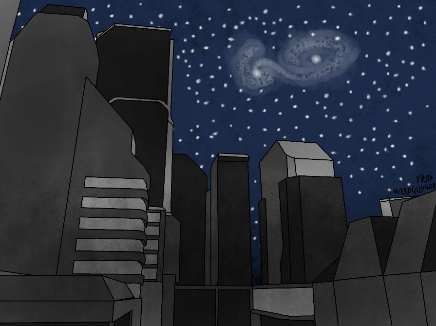 Reguest: City with starry night by pilotakeksz2