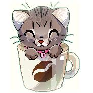 Coffee Mug Kitten by PixelRaccoon