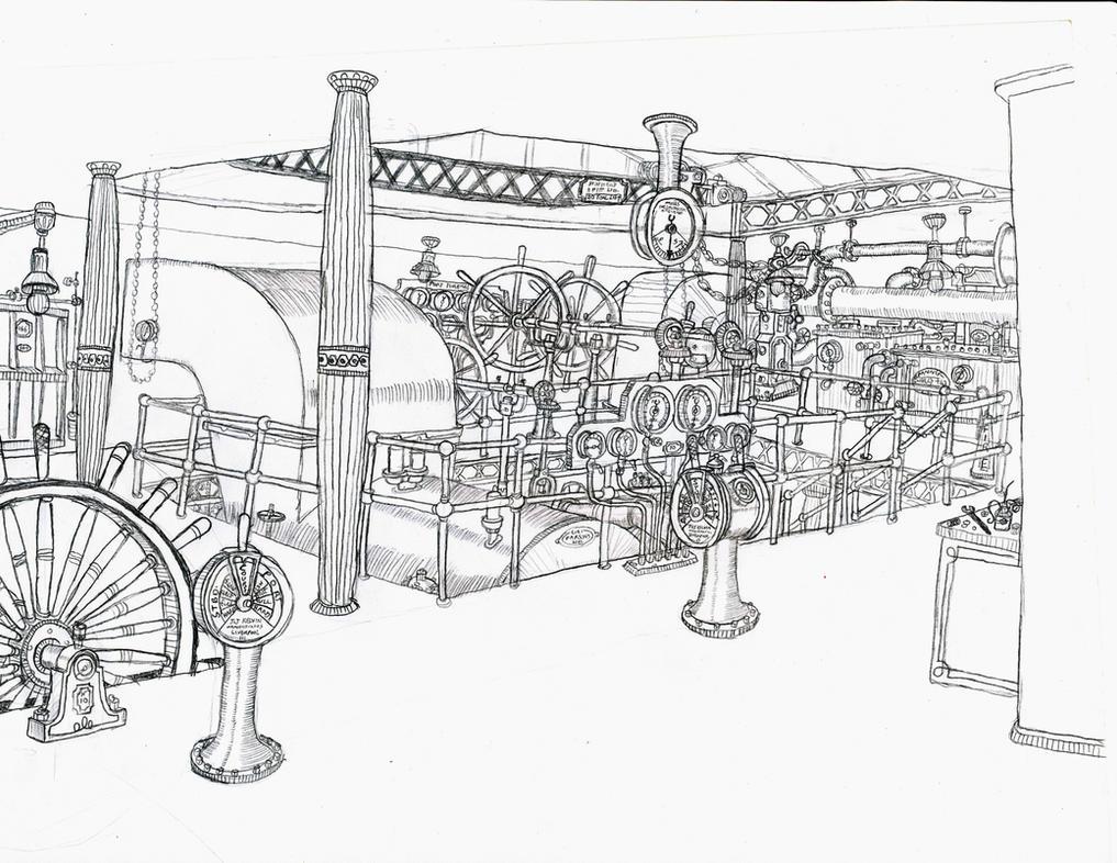 steamship engine room by ninjapickle on deviantart