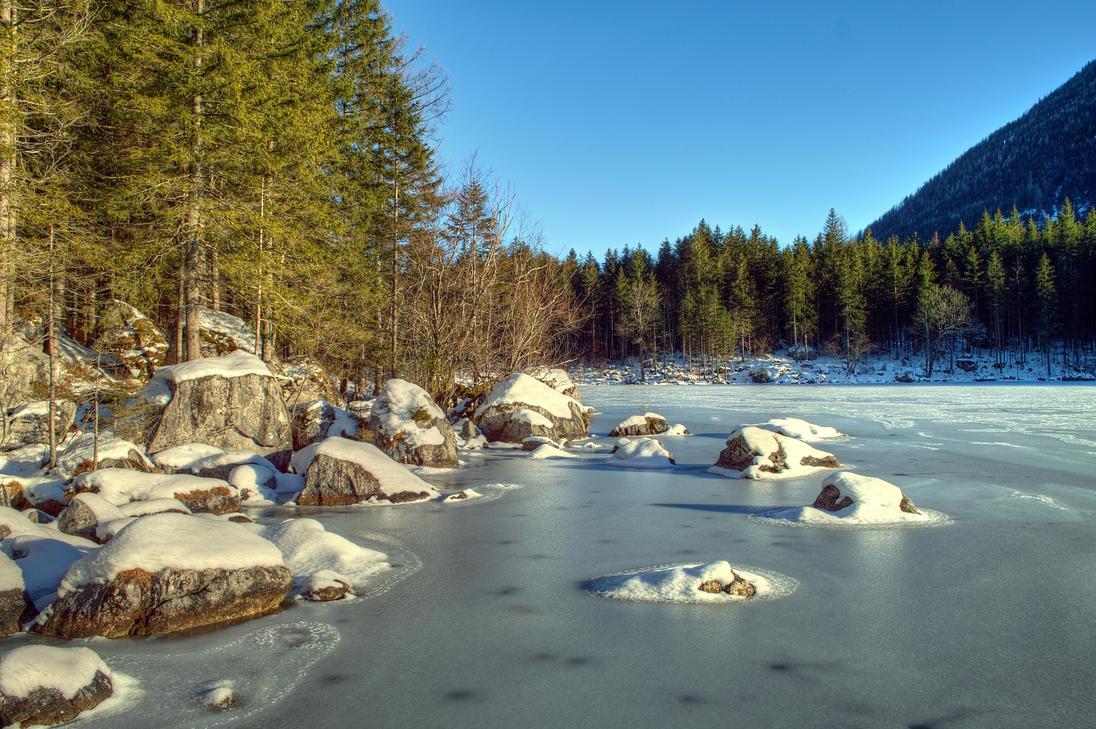 Iced Lakeside by Burtn
