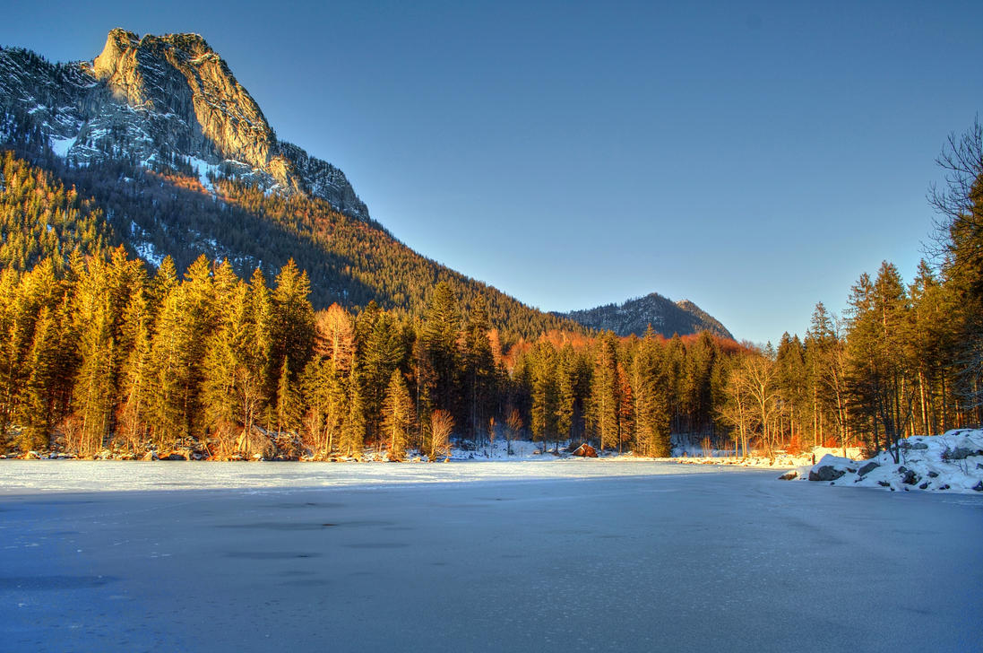 Frozen Lake And Wintersun by Burtn